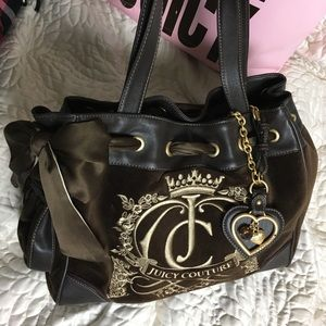 Juicy couture daydreamer velour bag gold new